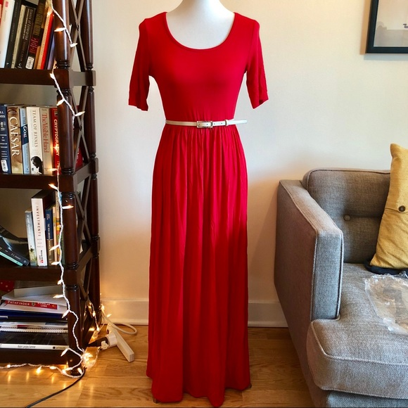 Dresses Red Maxi Dress With Elbow Length Sleeves Poshmark